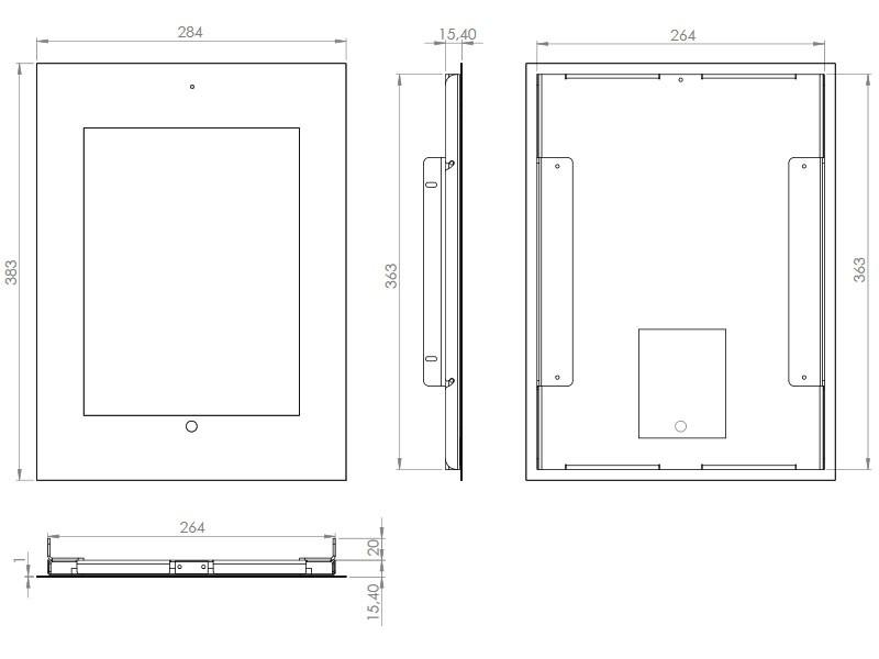 tablines twe024e tablet wandeinbau f r ipad pro 9 7 edelstahl. Black Bedroom Furniture Sets. Home Design Ideas
